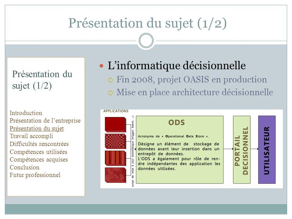 Linformatique décisionnelle Fin 2008, projet OASIS en production Mise en place architecture décisionnelle Présentation du sujet (1/2) Introduction Pré