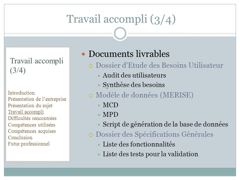Documents livrables Dossier dEtude des Besoins Utilisateur Audit des utilisateurs Synthèse des besoins Modèle de données (MERISE) MCD MPD Script de gé