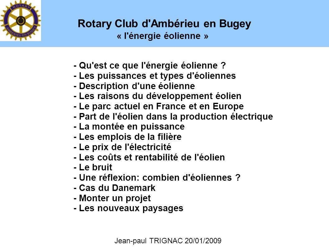 Rotary Club d'Ambérieu en Bugey Jean-paul TRIGNAC 20/01/2009 - Qu'est ce que l'énergie éolienne ? - Les puissances et types d'éoliennes - Description