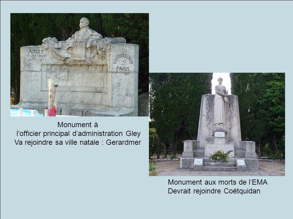 Monument à lofficier principal dadministration Gley Va rejoindre sa ville natale : Gerardmer Monument aux morts de lEMA Devrait rejoindre Coëtquidan