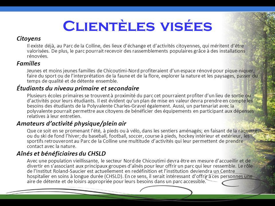 Clientèles visées Citoyens Il existe déjà, au Parc de la Colline, des lieux déchange et dactivités citoyennes, qui méritent dêtre valorisées.