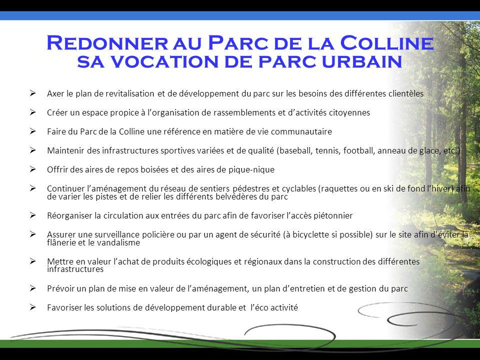 Redonner au Parc de la Colline sa vocation de parc urbain Axer le plan de revitalisation et de développement du parc sur les besoins des différentes c
