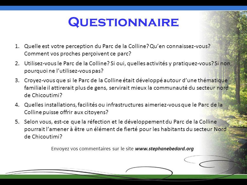 Questionnaire 1.Quelle est votre perception du Parc de la Colline.