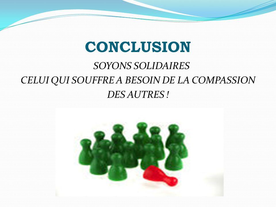 CONCLUSION SOYONS SOLIDAIRES CELUI QUI SOUFFRE A BESOIN DE LA COMPASSION DES AUTRES !