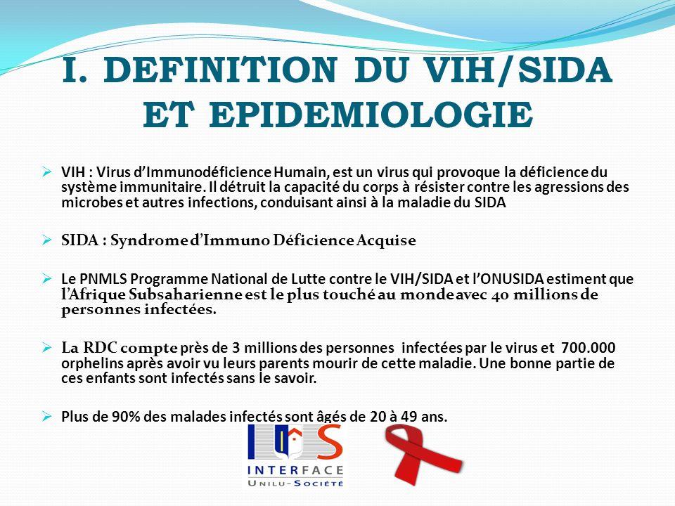 I. DEFINITION DU VIH/SIDA ET EPIDEMIOLOGIE VIH : Virus dImmunodéficience Humain, est un virus qui provoque la déficience du système immunitaire. Il dé