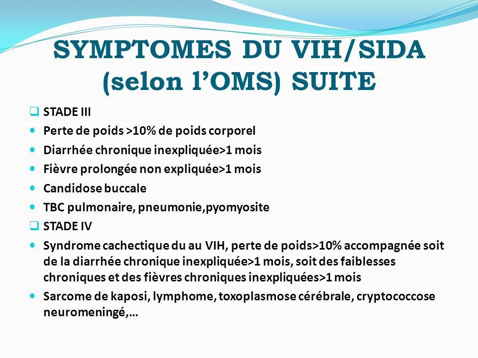 SYMPTOMES DU VIH/SIDA (selon lOMS) SUITE STADE III Perte de poids >10% de poids corporel Diarrhée chronique inexpliquée>1 mois Fièvre prolongée non ex