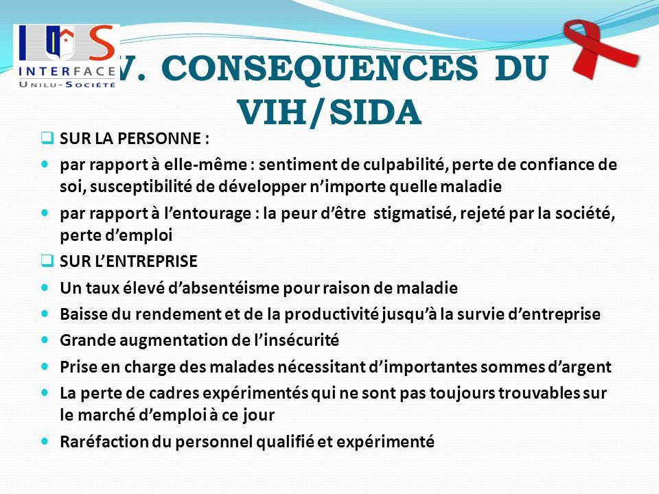 V. CONSEQUENCES DU VIH/SIDA SUR LA PERSONNE : par rapport à elle-même : sentiment de culpabilité, perte de confiance de soi, susceptibilité de dévelop