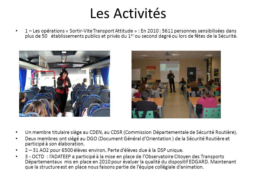 Activités diverses Délégués de bus : Pendant 4 ans le CG et lAdateep ont travaillé sur cette opération avec dexcellents résultats.