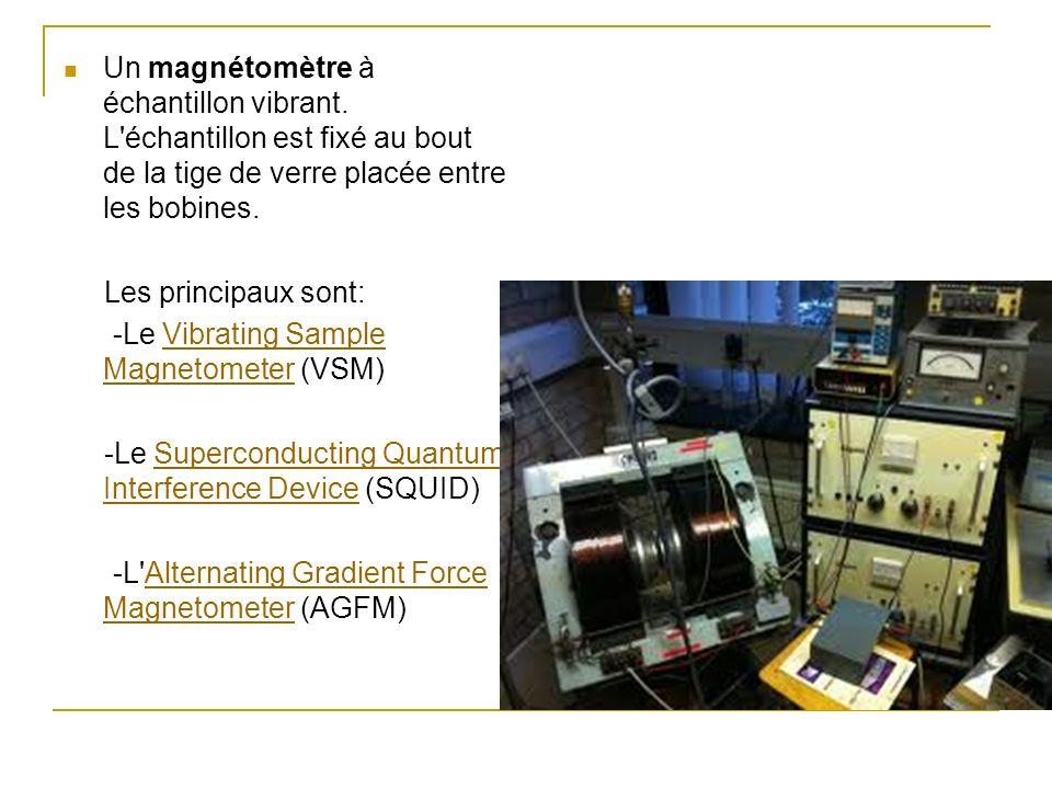 Un magnétomètre à échantillon vibrant. L'échantillon est fixé au bout de la tige de verre placée entre les bobines. Les principaux sont: -Le Vibrating