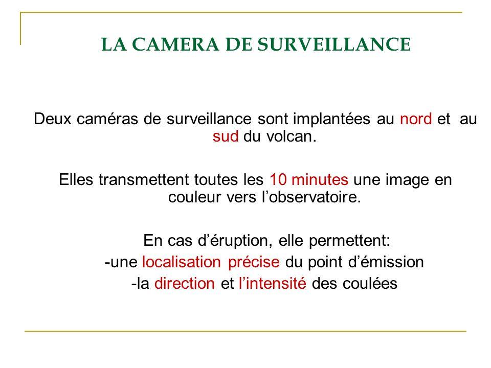 LA CAMERA DE SURVEILLANCE Deux caméras de surveillance sont implantées au nord et au sud du volcan. Elles transmettent toutes les 10 minutes une image