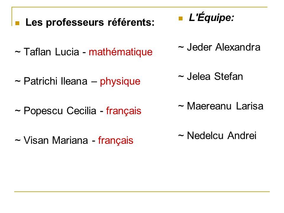 Les professeurs référents: ~ Taflan Lucia - mathématique ~ Patrichi Ileana – physique ~ Popescu Cecilia - français ~ Visan Mariana - français L'Équipe