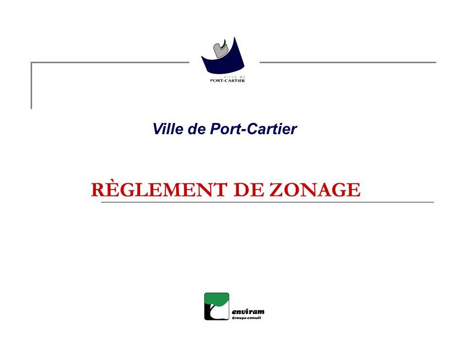 RÈGLEMENT DE ZONAGE Ville de Port-Cartier