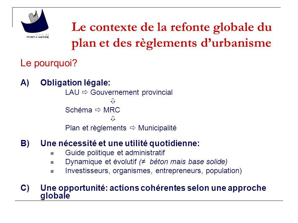 Le contexte de la refonte globale du plan et des règlements durbanisme Le pourquoi.