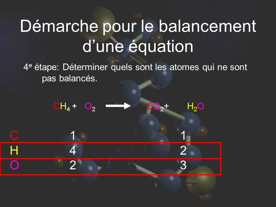 4 e étape: Déterminer quels sont les atomes qui ne sont pas balancés. 142142 123123 CHOCHO CH 4 + O 2 CO 2 + H 2 O Démarche pour le balancement dune é