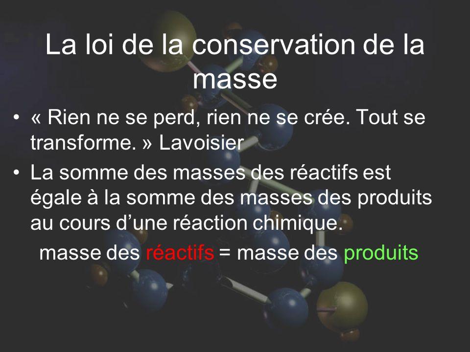 La loi de la conservation de la masse « Rien ne se perd, rien ne se crée. Tout se transforme. » Lavoisier La somme des masses des réactifs est égale à