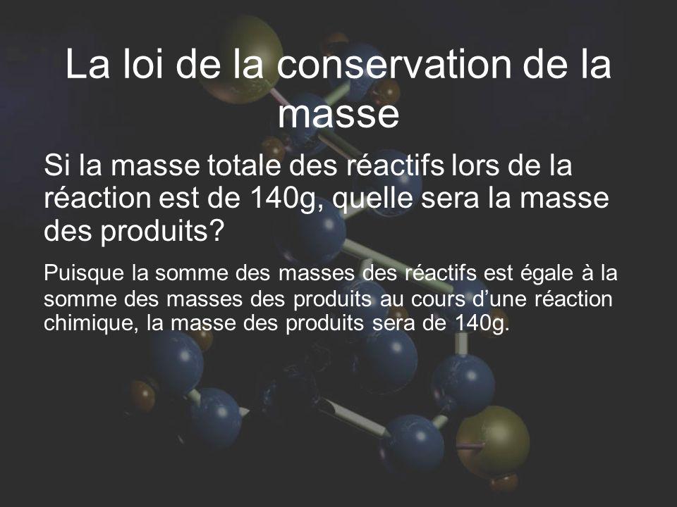 La loi de la conservation de la masse Si la masse totale des réactifs lors de la réaction est de 140g, quelle sera la masse des produits? Puisque la s