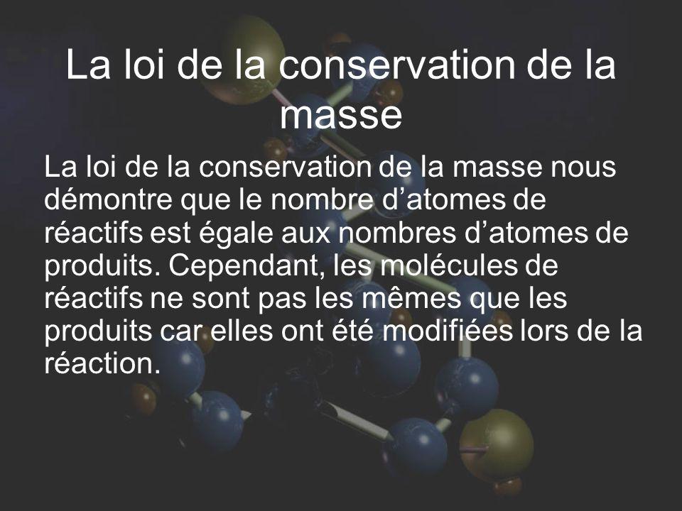 La loi de la conservation de la masse La loi de la conservation de la masse nous démontre que le nombre datomes de réactifs est égale aux nombres datomes de produits.