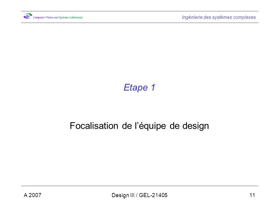 Ingénierie des systèmes complexes A 2007Design III / GEL-2140511 Etape 1 Focalisation de léquipe de design