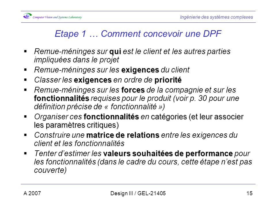 Ingénierie des systèmes complexes A 2007Design III / GEL-2140515 Etape 1 … Comment concevoir une DPF qui Remue-méninges sur qui est le client et les a