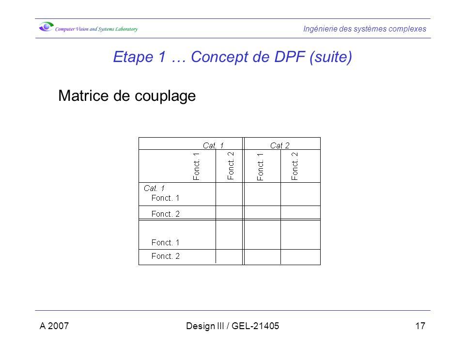 Ingénierie des systèmes complexes A 2007Design III / GEL-2140517 Etape 1 … Concept de DPF (suite) Matrice de couplage