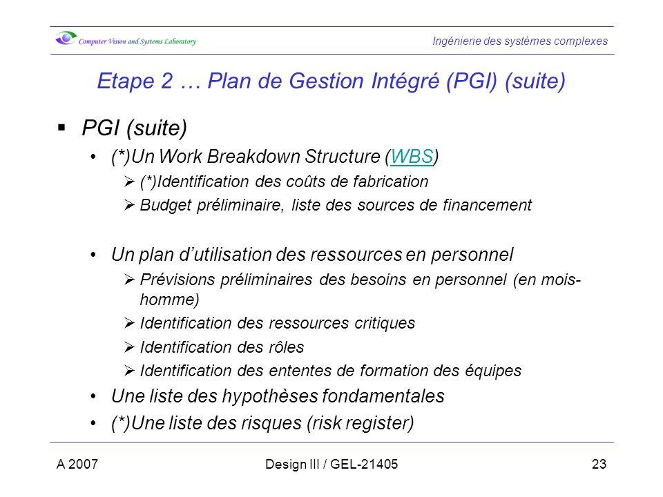 Ingénierie des systèmes complexes A 2007Design III / GEL-2140523 Etape 2 … Plan de Gestion Intégré (PGI) (suite) PGI (suite) (*)Un Work Breakdown Stru