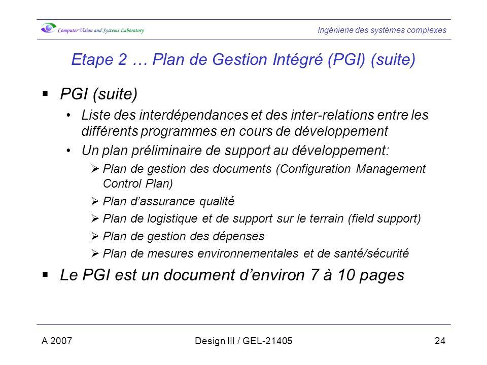 Ingénierie des systèmes complexes A 2007Design III / GEL-2140524 Etape 2 … Plan de Gestion Intégré (PGI) (suite) PGI (suite) Liste des interdépendance