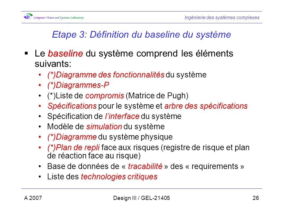 Ingénierie des systèmes complexes A 2007Design III / GEL-2140526 Etape 3: Définition du baseline du système baseline Le baseline du système comprend les éléments suivants: (*)Diagramme des fonctionnalités(*)Diagramme des fonctionnalités du système (*)Diagrammes-P(*)Diagrammes-P compromis(*)Liste de compromis (Matrice de Pugh) Spécificationsarbre des spécificationsSpécifications pour le système et arbre des spécifications linterfaceSpécification de linterface du système simulationModèle de simulation du système (*)Diagramme(*)Diagramme du système physique (*)Plan de repli(*)Plan de repli face aux risques (registre de risque et plan de réaction face au risque) tracabilitéBase de données de « tracabilité » des « requirements » technologies critiquesListe des technologies critiques