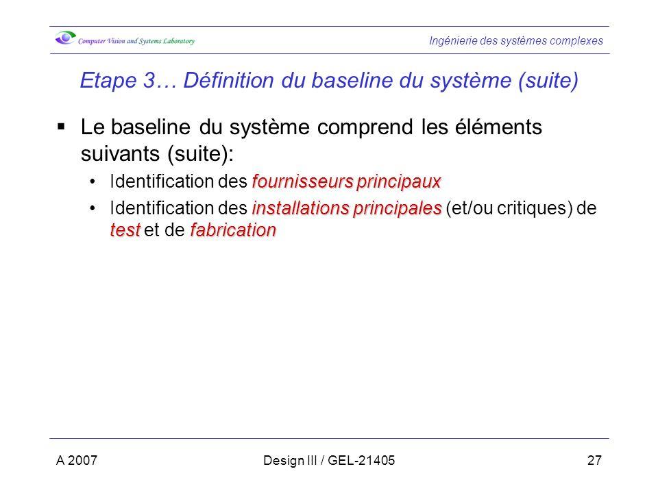 Ingénierie des systèmes complexes A 2007Design III / GEL-2140527 Etape 3… Définition du baseline du système (suite) Le baseline du système comprend le