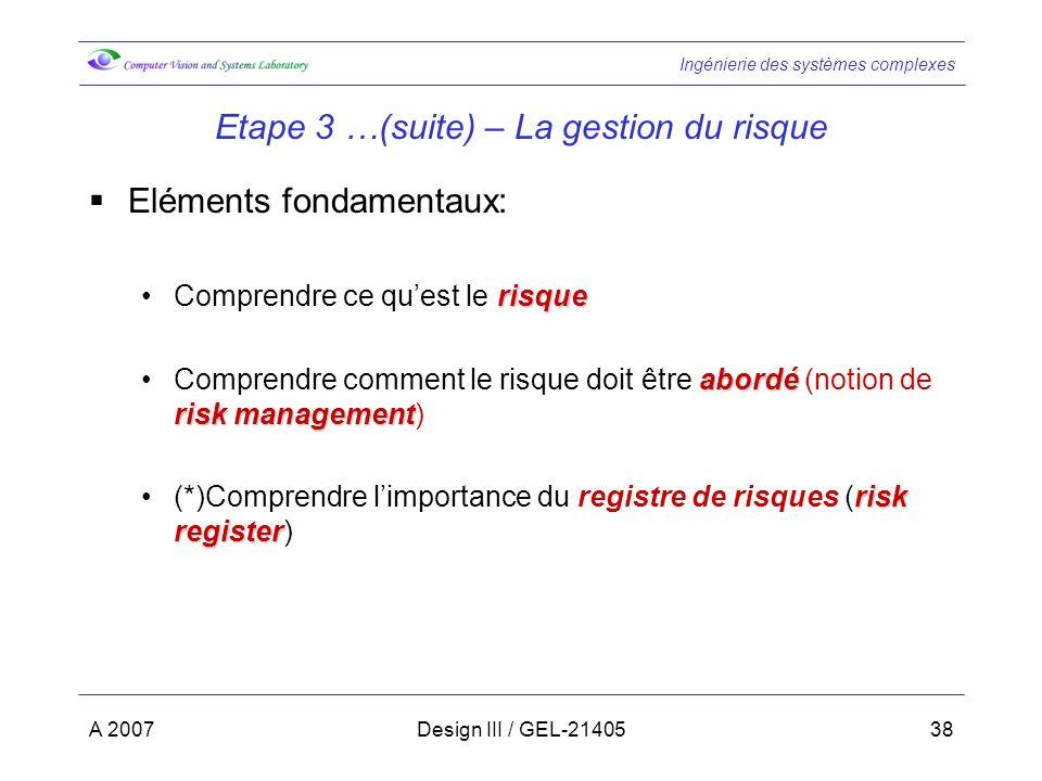 Ingénierie des systèmes complexes A 2007Design III / GEL-2140538 Etape 3 …(suite) – La gestion du risque Eléments fondamentaux: risqueComprendre ce qu