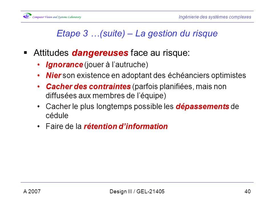 Ingénierie des systèmes complexes A 2007Design III / GEL-2140540 Etape 3 …(suite) – La gestion du risque dangereuses Attitudes dangereuses face au ris