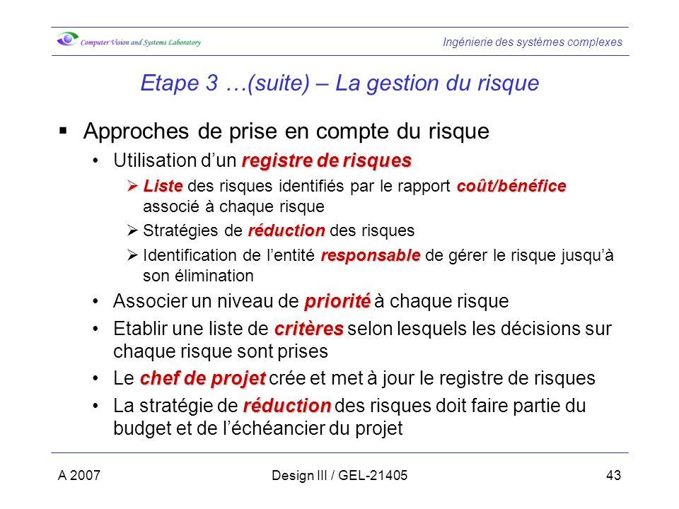 Ingénierie des systèmes complexes A 2007Design III / GEL-2140543 Etape 3 …(suite) – La gestion du risque Approches de prise en compte du risque regist