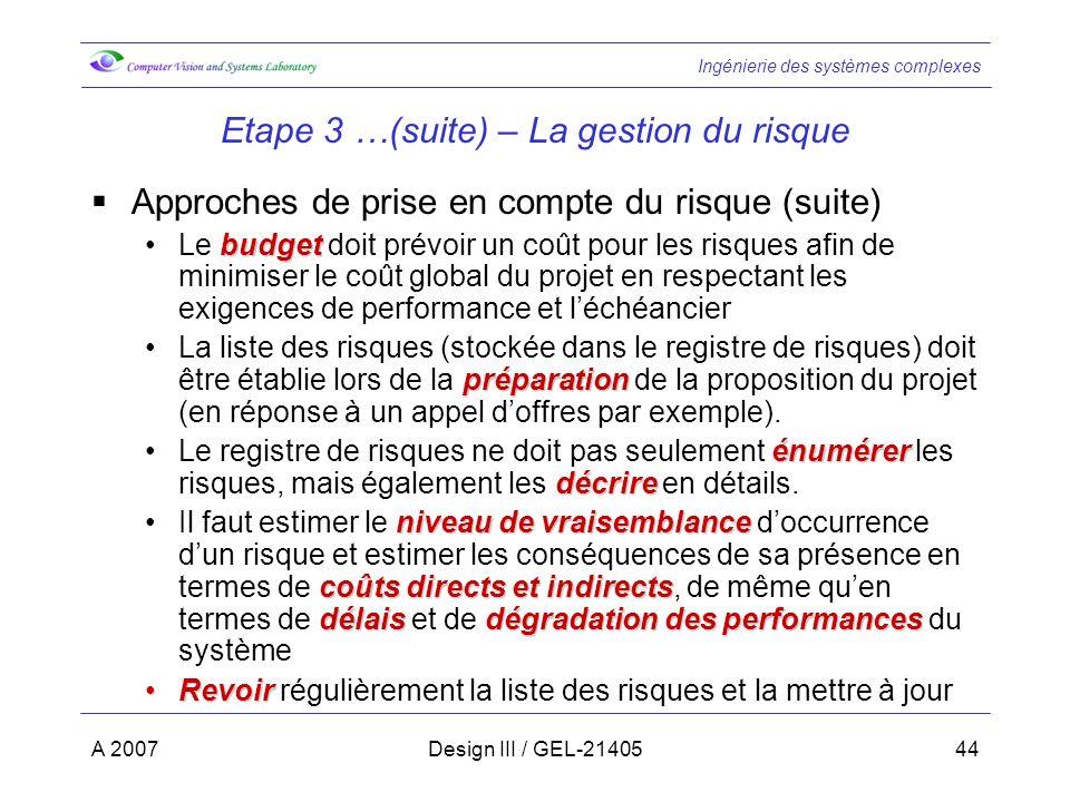 Ingénierie des systèmes complexes A 2007Design III / GEL-2140544 Etape 3 …(suite) – La gestion du risque Approches de prise en compte du risque (suite) budgetLe budget doit prévoir un coût pour les risques afin de minimiser le coût global du projet en respectant les exigences de performance et léchéancier préparationLa liste des risques (stockée dans le registre de risques) doit être établie lors de la préparation de la proposition du projet (en réponse à un appel doffres par exemple).