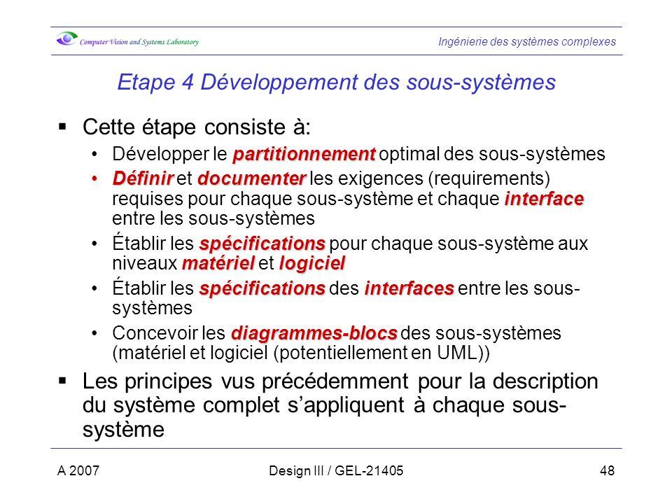 Ingénierie des systèmes complexes A 2007Design III / GEL-2140548 Etape 4 Développement des sous-systèmes Cette étape consiste à: partitionnementDévelo