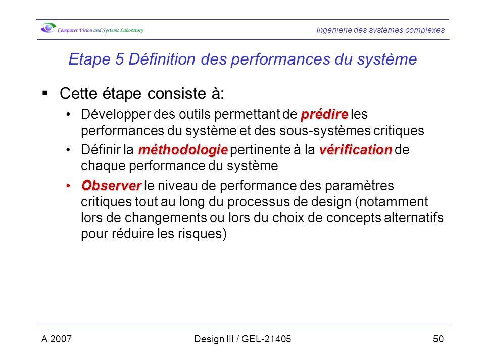 Ingénierie des systèmes complexes A 2007Design III / GEL-2140550 Etape 5 Définition des performances du système Cette étape consiste à: prédireDévelopper des outils permettant de prédire les performances du système et des sous-systèmes critiques méthodologievérificationDéfinir la méthodologie pertinente à la vérification de chaque performance du système ObserverObserver le niveau de performance des paramètres critiques tout au long du processus de design (notamment lors de changements ou lors du choix de concepts alternatifs pour réduire les risques)