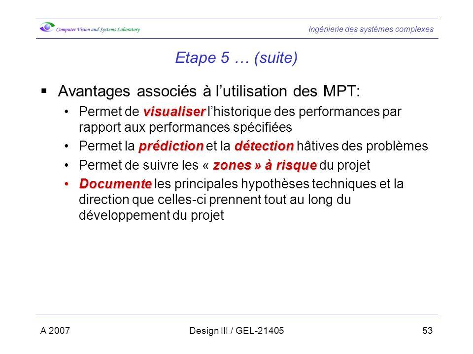 Ingénierie des systèmes complexes A 2007Design III / GEL-2140553 Etape 5 … (suite) Avantages associés à lutilisation des MPT: visualiserPermet de visu