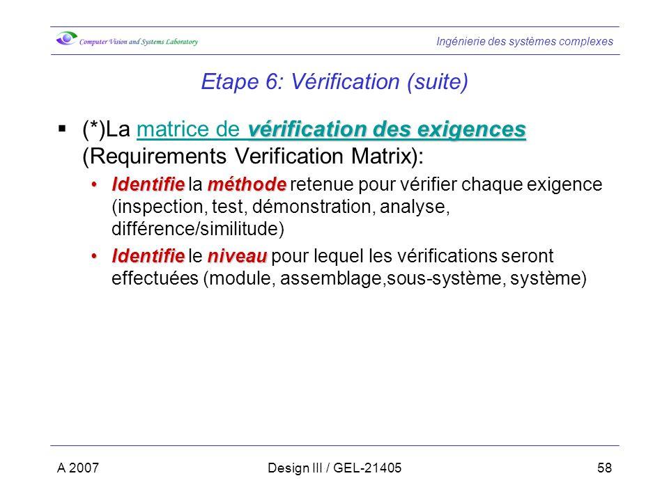 Ingénierie des systèmes complexes A 2007Design III / GEL-2140558 Etape 6: Vérification (suite) vérification des exigences vérification des exigences (*)La matrice de vérification des exigences (Requirements Verification Matrix):matrice de vérification des exigences IdentifieméthodeIdentifie la méthode retenue pour vérifier chaque exigence (inspection, test, démonstration, analyse, différence/similitude) IdentifieniveauIdentifie le niveau pour lequel les vérifications seront effectuées (module, assemblage,sous-système, système)