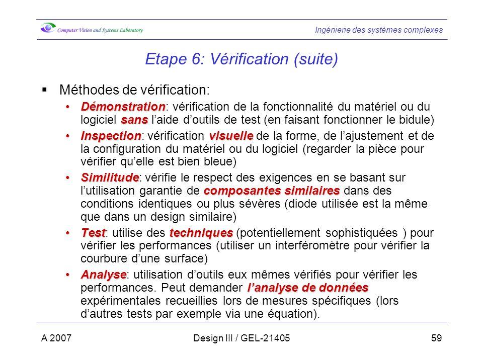 Ingénierie des systèmes complexes A 2007Design III / GEL-2140559 Etape 6: Vérification (suite) Méthodes de vérification: Démonstration sansDémonstrati