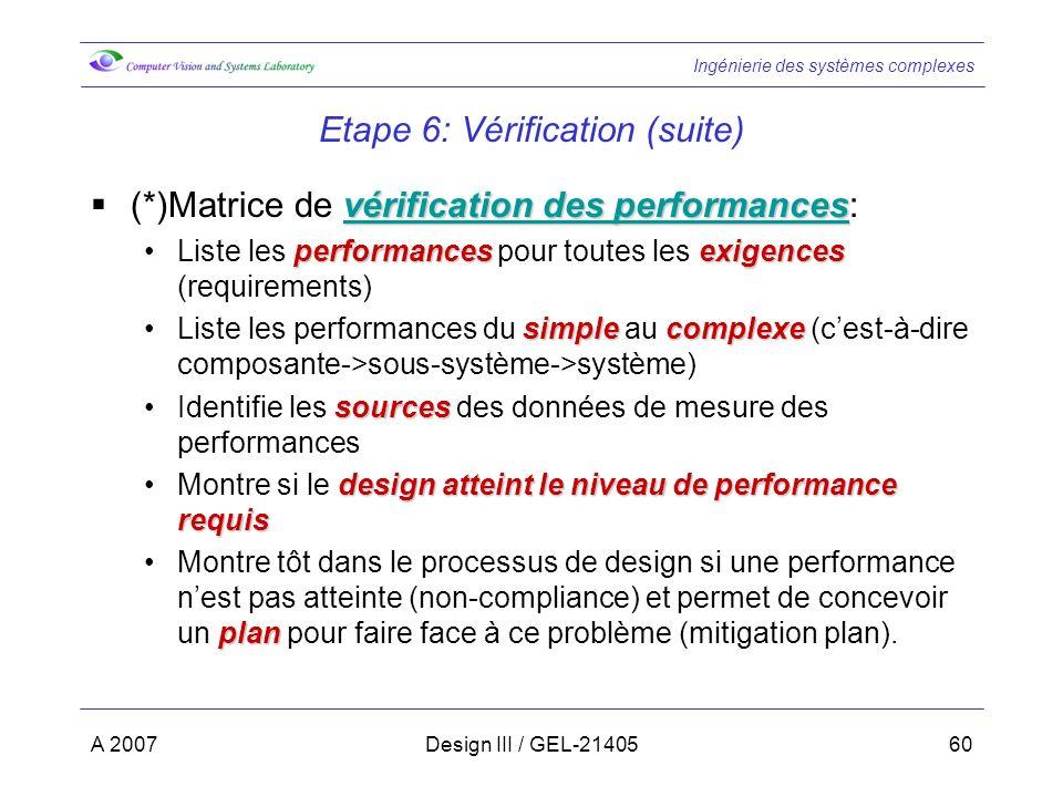 Ingénierie des systèmes complexes A 2007Design III / GEL-2140560 Etape 6: Vérification (suite) vérification des performances vérification des performa