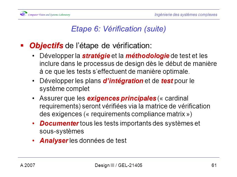 Ingénierie des systèmes complexes A 2007Design III / GEL-2140561 Etape 6: Vérification (suite) Objectifs Objectifs de létape de vérification: stratégieméthodologieDévelopper la stratégie et la méthodologie de test et les inclure dans le processus de design dès le début de manière à ce que les tests seffectuent de manière optimale.