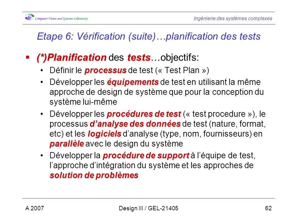 Ingénierie des systèmes complexes A 2007Design III / GEL-2140562 Etape 6: Vérification (suite)…planification des tests (*)Planificationtests (*)Planification des tests…objectifs: processusDéfinir le processus de test (« Test Plan ») équipementsDévelopper les équipements de test en utilisant la même approche de design de système que pour la conception du système lui-même procédures de test danalyse des données logiciels parallèleDévelopper les procédures de test (« test procedure »), le processus danalyse des données de test (nature, format, etc) et les logiciels danalyse (type, nom, fournisseurs) en parallèle avec le design du système procédure de support solution de problèmesDévelopper la procédure de support à léquipe de test, lapproche dintégration du système et les approches de solution de problèmes