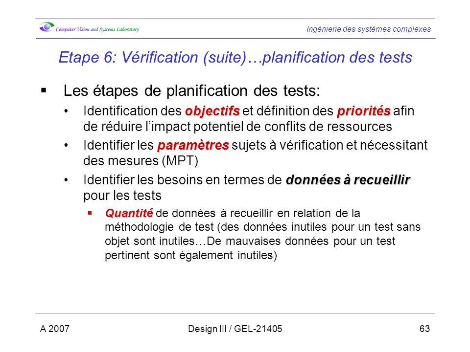 Ingénierie des systèmes complexes A 2007Design III / GEL-2140563 Etape 6: Vérification (suite)…planification des tests Les étapes de planification des