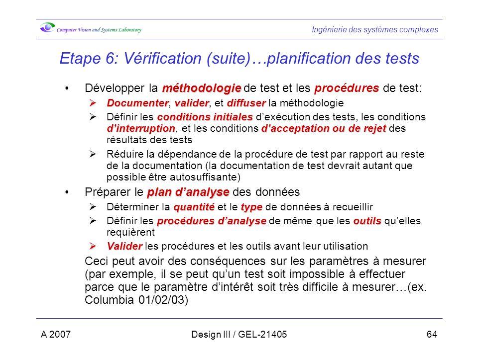 Ingénierie des systèmes complexes A 2007Design III / GEL-2140564 Etape 6: Vérification (suite)…planification des tests méthodologieDévelopper la métho