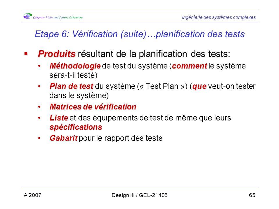 Ingénierie des systèmes complexes A 2007Design III / GEL-2140565 Etape 6: Vérification (suite)…planification des tests Produits Produits résultant de