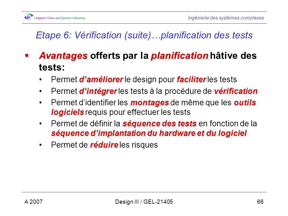 Ingénierie des systèmes complexes A 2007Design III / GEL-2140566 Etape 6: Vérification (suite)…planification des tests Avantagesplanification Avantage