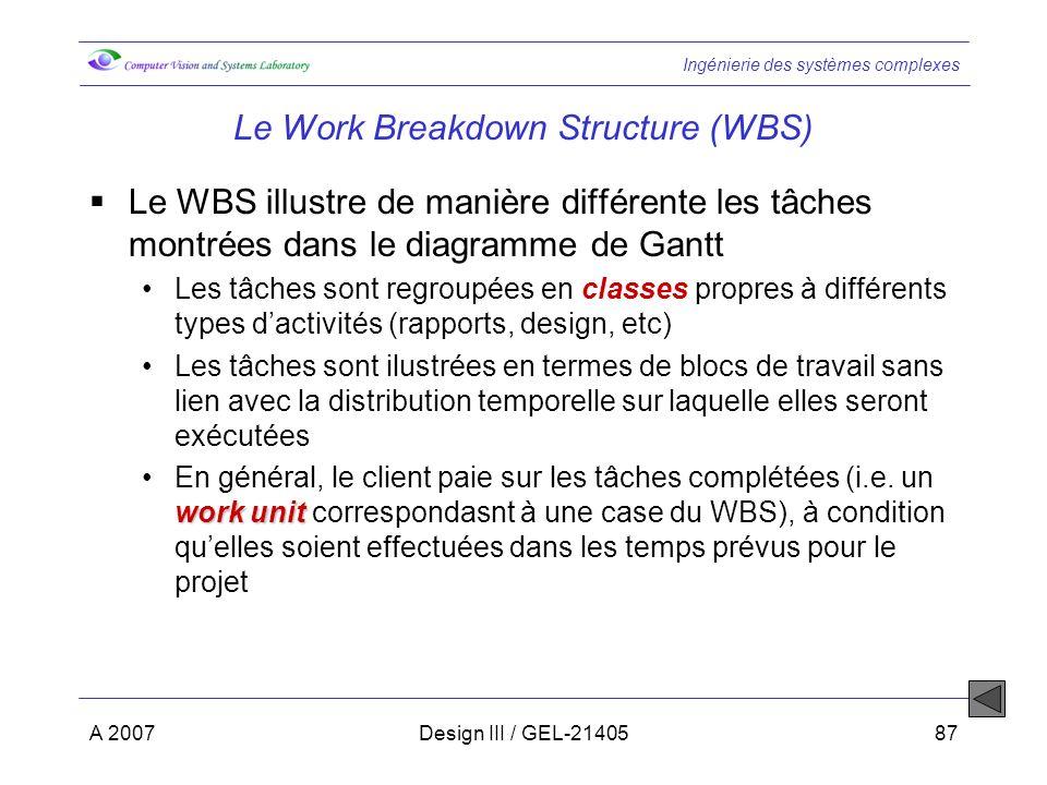 Ingénierie des systèmes complexes A 2007Design III / GEL-2140587 Le Work Breakdown Structure (WBS) Le WBS illustre de manière différente les tâches montrées dans le diagramme de Gantt Les tâches sont regroupées en classes propres à différents types dactivités (rapports, design, etc) Les tâches sont ilustrées en termes de blocs de travail sans lien avec la distribution temporelle sur laquelle elles seront exécutées work unitEn général, le client paie sur les tâches complétées (i.e.