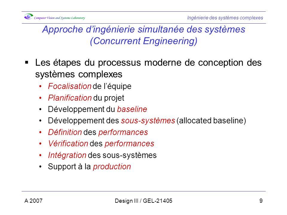 Ingénierie des systèmes complexes A 2007Design III / GEL-2140530 Etape 3…(suite) conception mappingfonctionnalités dispositifs La conception (design) du système consiste à effectuer un mapping des fonctionnalités («quest-ce que doit accomplir le système »…what do I need to do) vers les sous-systèmes formés de dispositifs hardware/software permettant dimplanter celles-ci (« que faut-il pour accomplir ces actions » … what do I need to do it) matrice Une matrice est utile pour illustrer le mapping entre les fonctionnalités et les sous-systèmes et leurs dispositifs physiques Un mapping 1 1 entre les fonctionnalités et les sous-systèmes physiques est hautement souhaitable parce que cela: