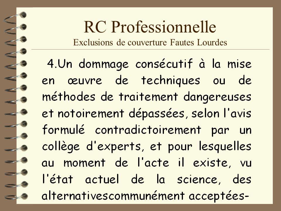 RC Professionnelle Exclusions de couverture Fautes Lourdes