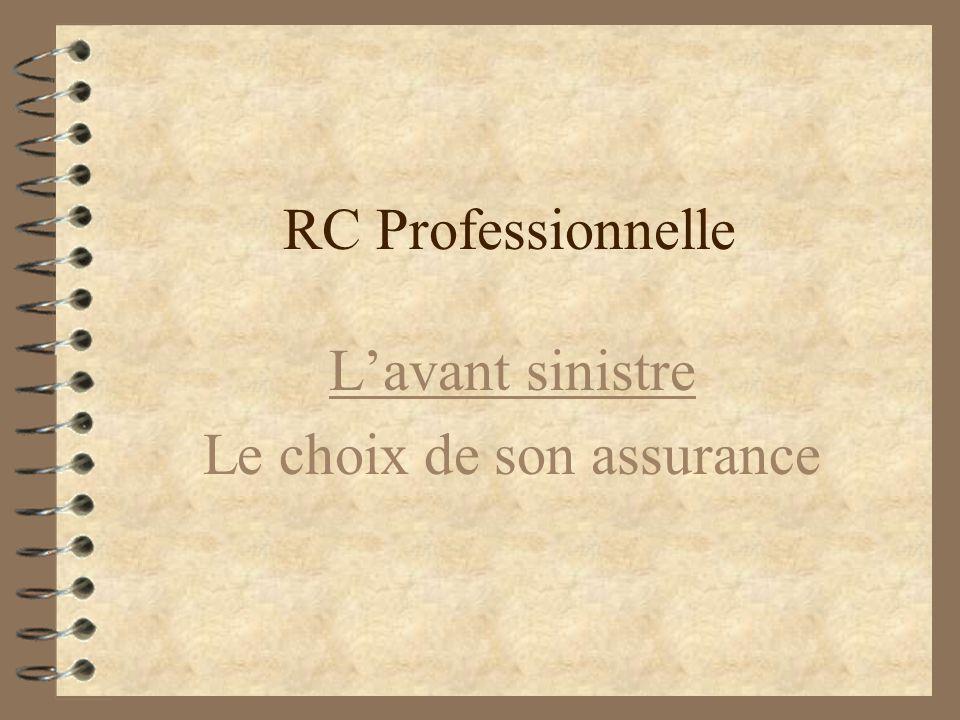 RC Professionnelle Conditions pour laléa thérapeutique 4B4Barème de dédommagement 4C4Choix de la voie unique de recours 4F4Financement par la collectivité