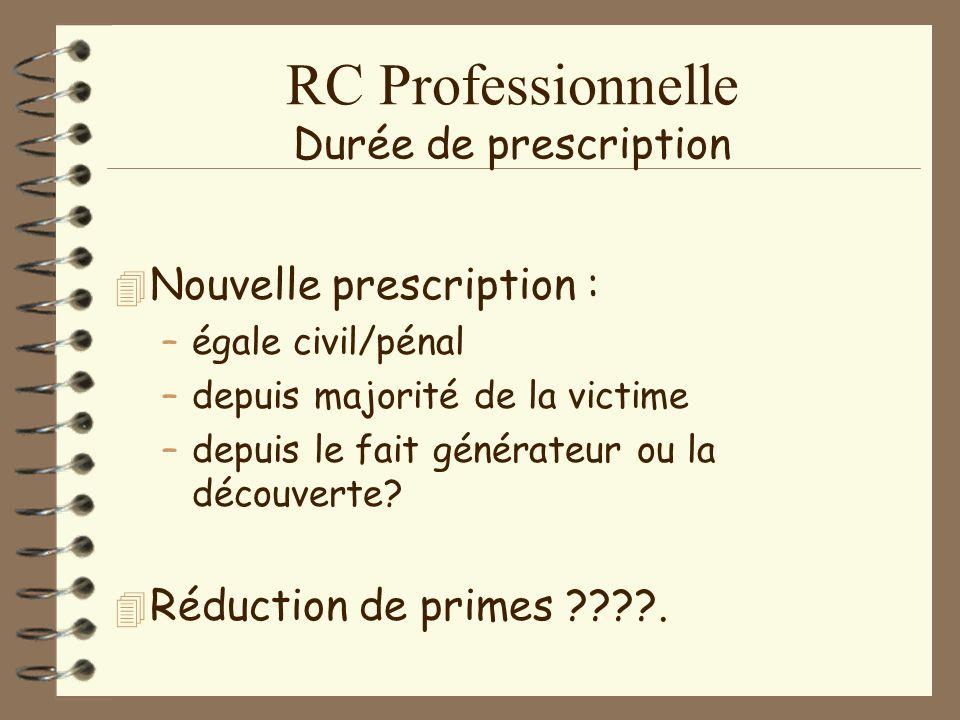 RC Professionnelle Evolution des primes 4A4Augmentation des catégories.