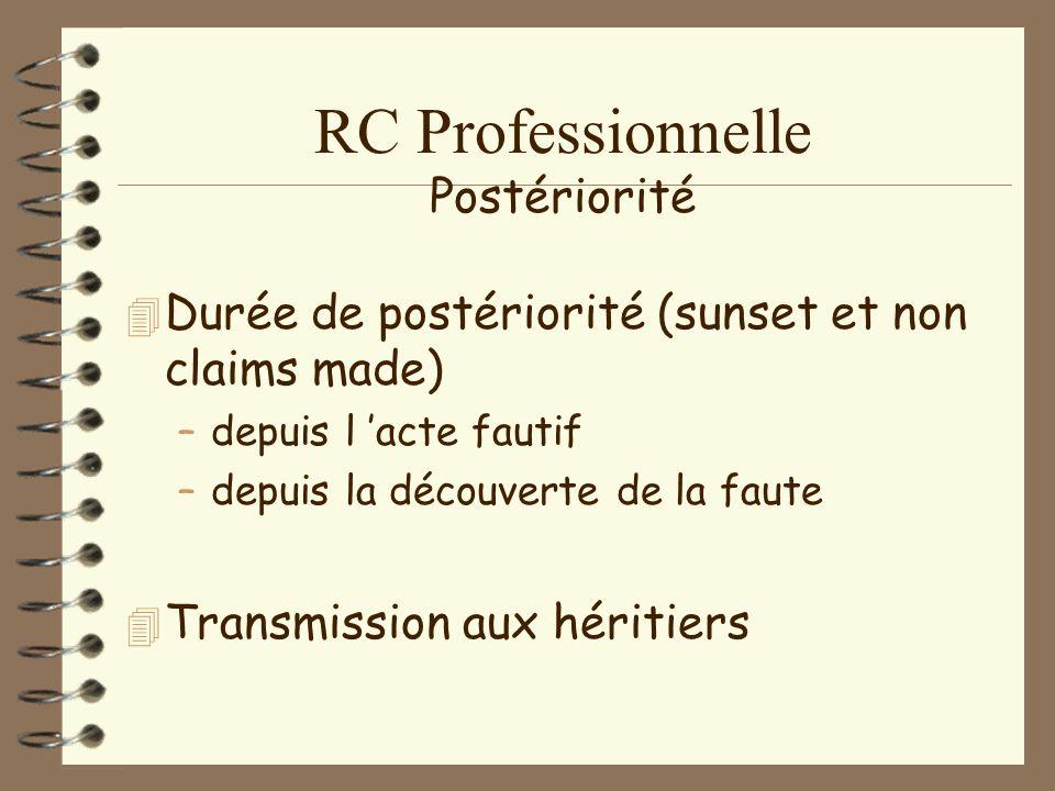RC Professionnelle Durée de prescription 4N4Nouvelle prescription : –é–égale civil/pénal –d–depuis majorité de la victime –d–depuis le fait générateur ou la découverte.